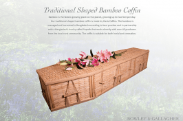 bamboo coffin with flowers