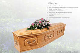 Windsor solid oak coffin