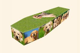 bespoke coffin with images of dogs on